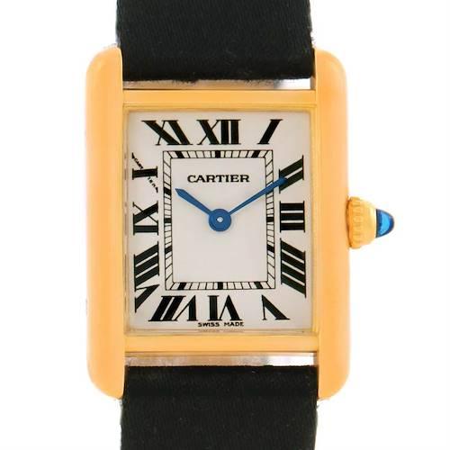 Photo of Cartier Tank Louis 18k Yellow Gold Black Strap Small Watch W1529856