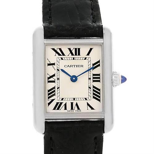 Photo of Cartier Tank Louis 18k White Gold Black Strap Ladies Watch W1541056