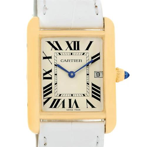 Photo of Cartier Tank Louis 18k Yellow Gold White Strap Quartz Watch W1529756