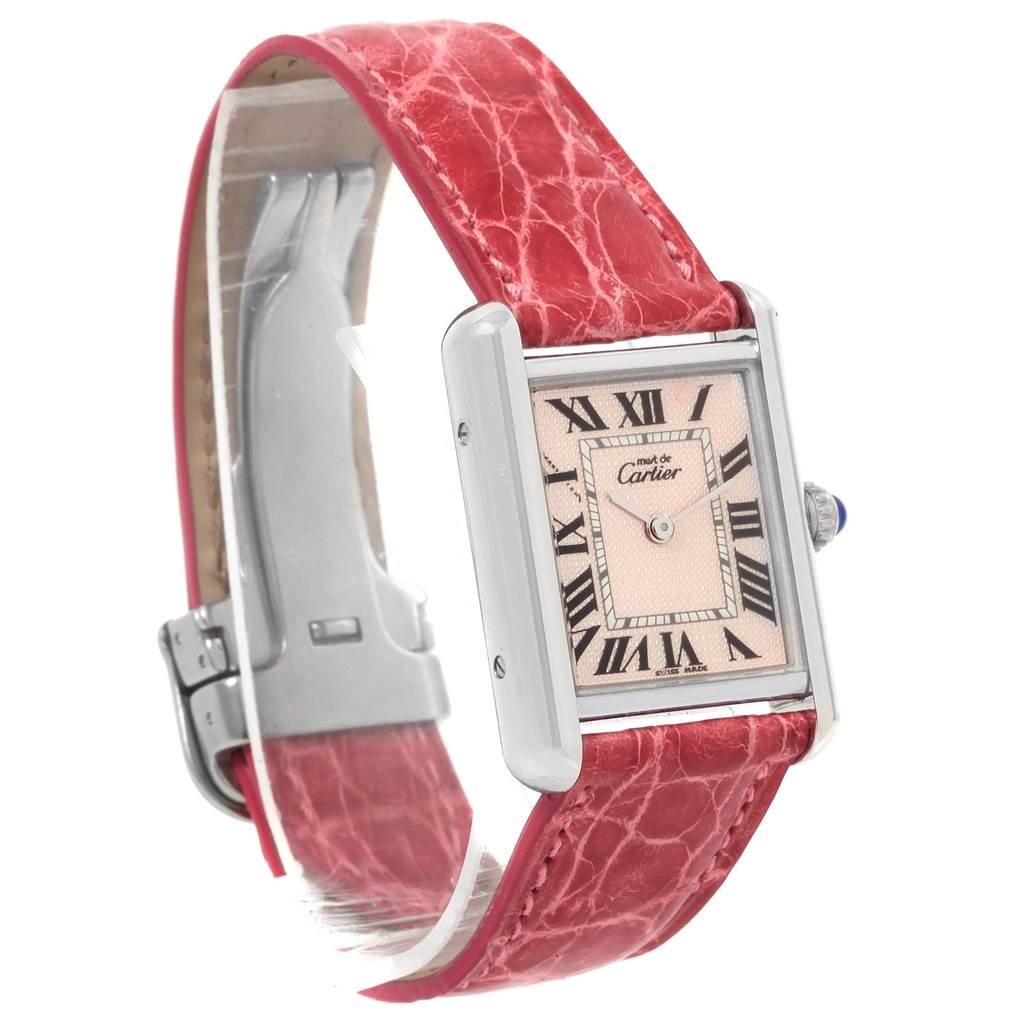 8129X Cartier Tank Louis Must Silver Rose Strap Ladies Watch SwissWatchExpo