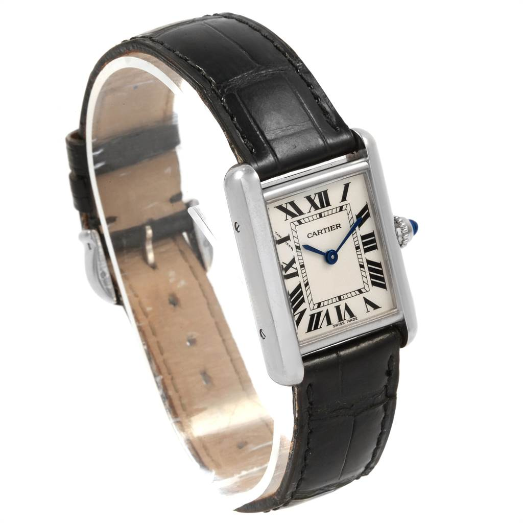 21607 Cartier Tank Louis 18k White Gold Black Strap Ladies Watch W1541056 SwissWatchExpo