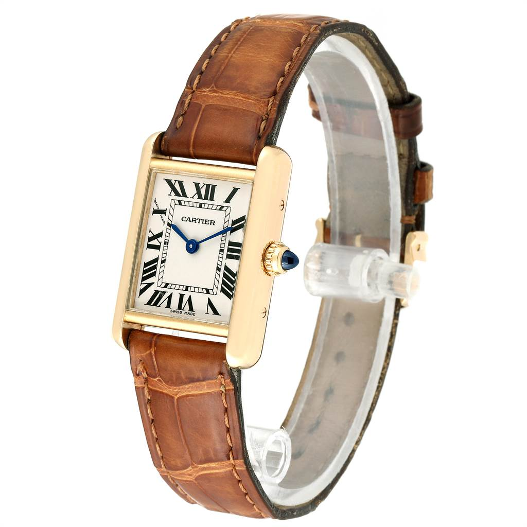 23403 Cartier Tank Louis 18k Yellow Gold Brown Strap Ladies Watch W1529856 SwissWatchExpo