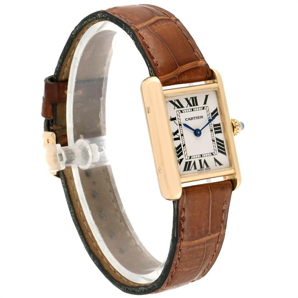Cartier Tank Louis 18k Yellow Gold Brown Strap Ladies Watch W1529856 SwissWatchExpo