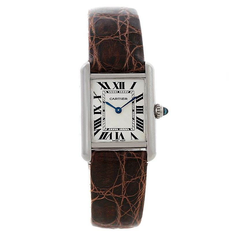 8422 Cartier Tank Louis Small 18k White Gold Watch W1541056 SwissWatchExpo