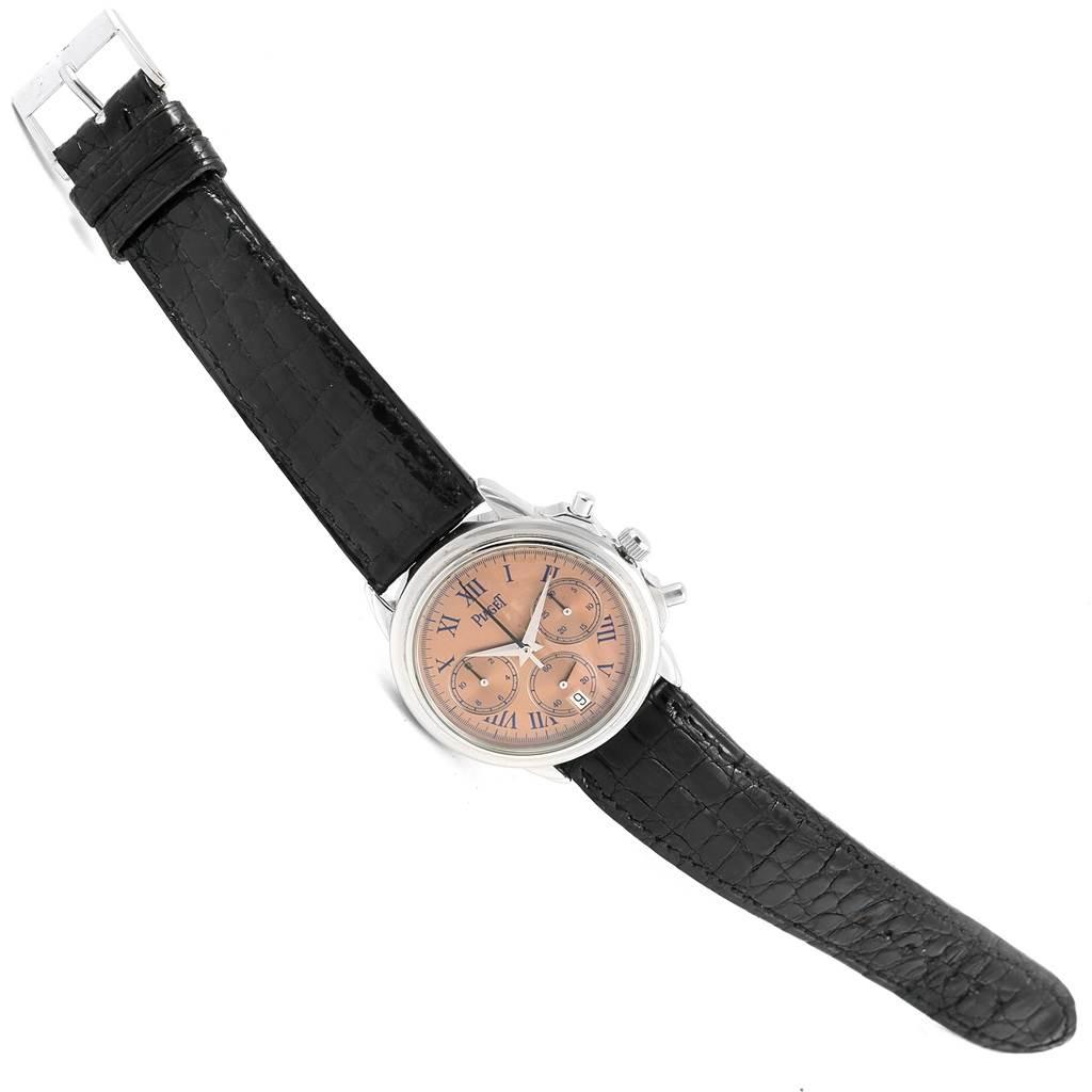 Piaget Chronograph Gouverneur Platinum Salmon Dial Mens Watch 12978 SwissWatchExpo