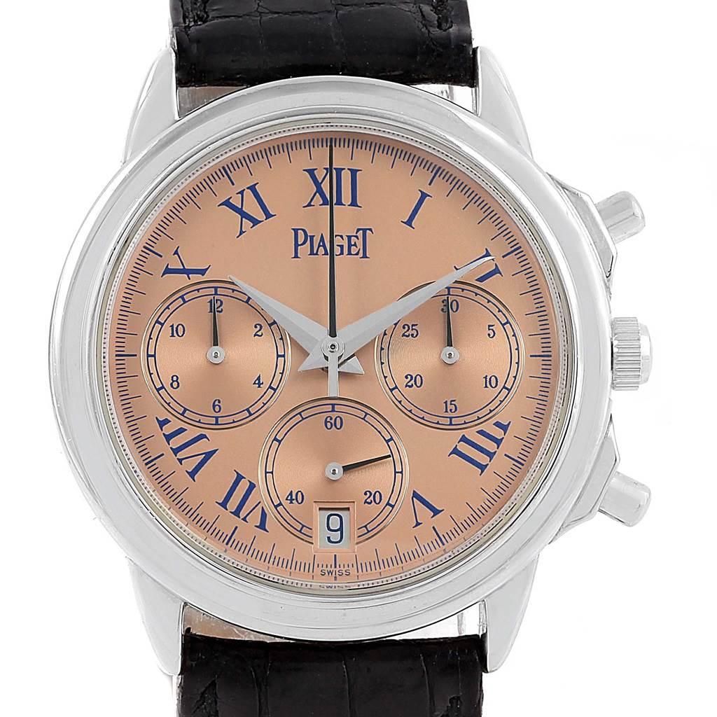 Photo of Piaget Chronograph Gouverneur Platinum Salmon Dial Mens Watch 12978