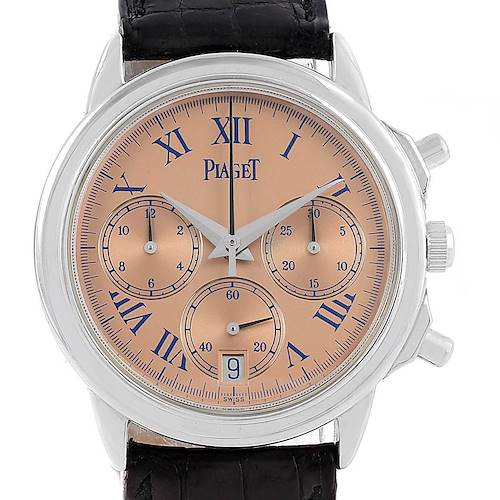 Photo of Piaget Chronograph Gouverneur Platinum Salmon Dial Mens Watch 12978