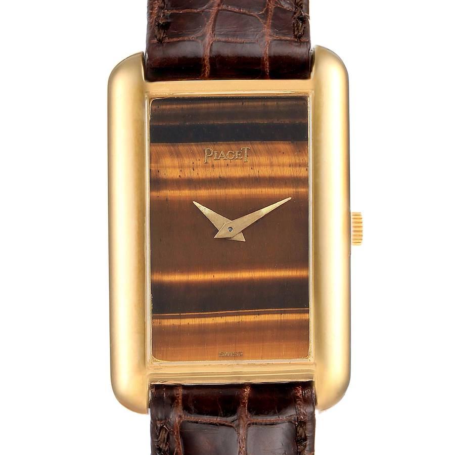 Piaget 18K Yellow Gold Tiger Eye Stone Dial Ladies Watch 9228 SwissWatchExpo