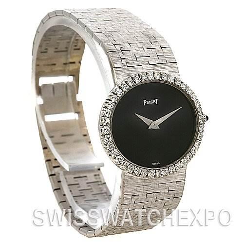 Piaget 18k White Gold Diamond Onyx Dial Vintage Ladies Watch SwissWatchExpo