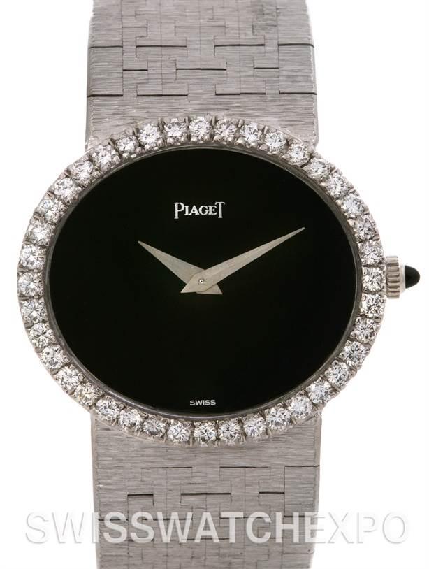 Photo of Piaget 18k White Gold Diamond Onyx Dial Vintage Ladies Watch