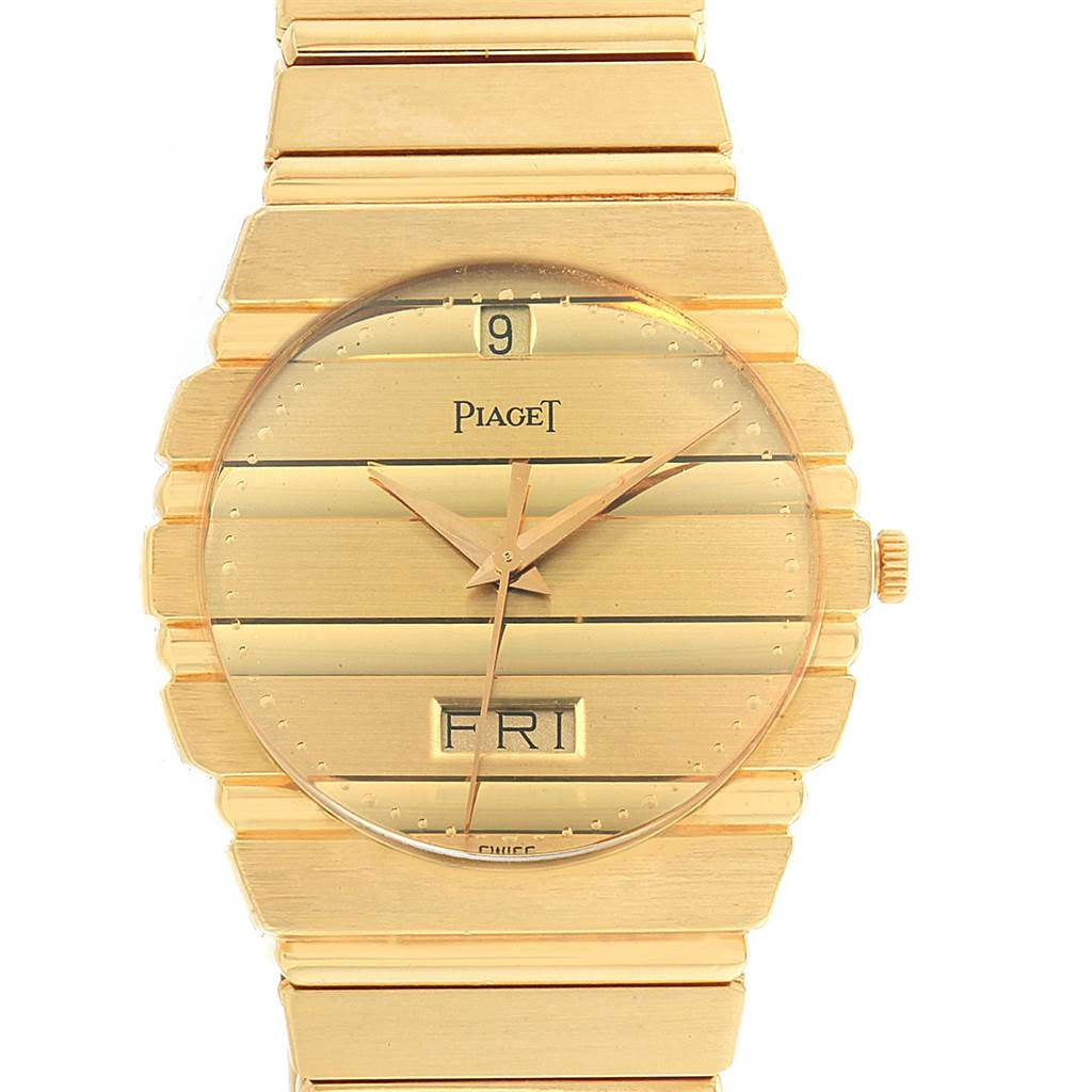 Piaget Polo 18K Yellow Gold Day Date Mens Watch 15562c701 SwissWatchExpo