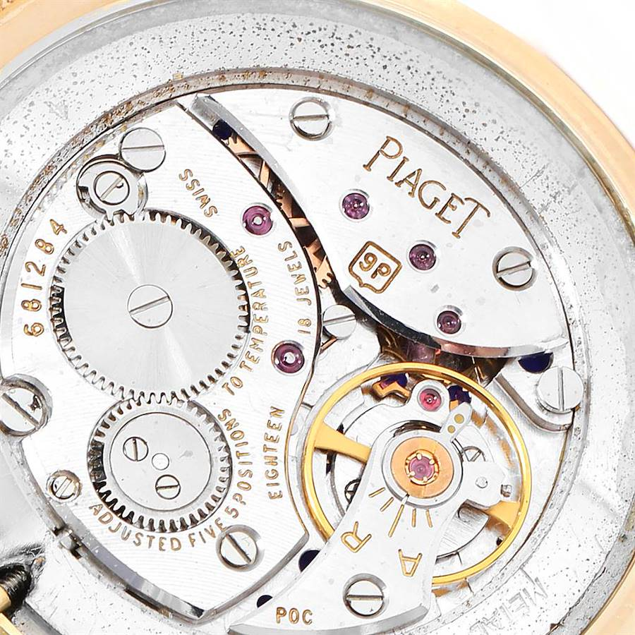 Piaget 18k Yellow Gold Lapis Lazuli Dial Vintage Mens Watch 902B11 SwissWatchExpo
