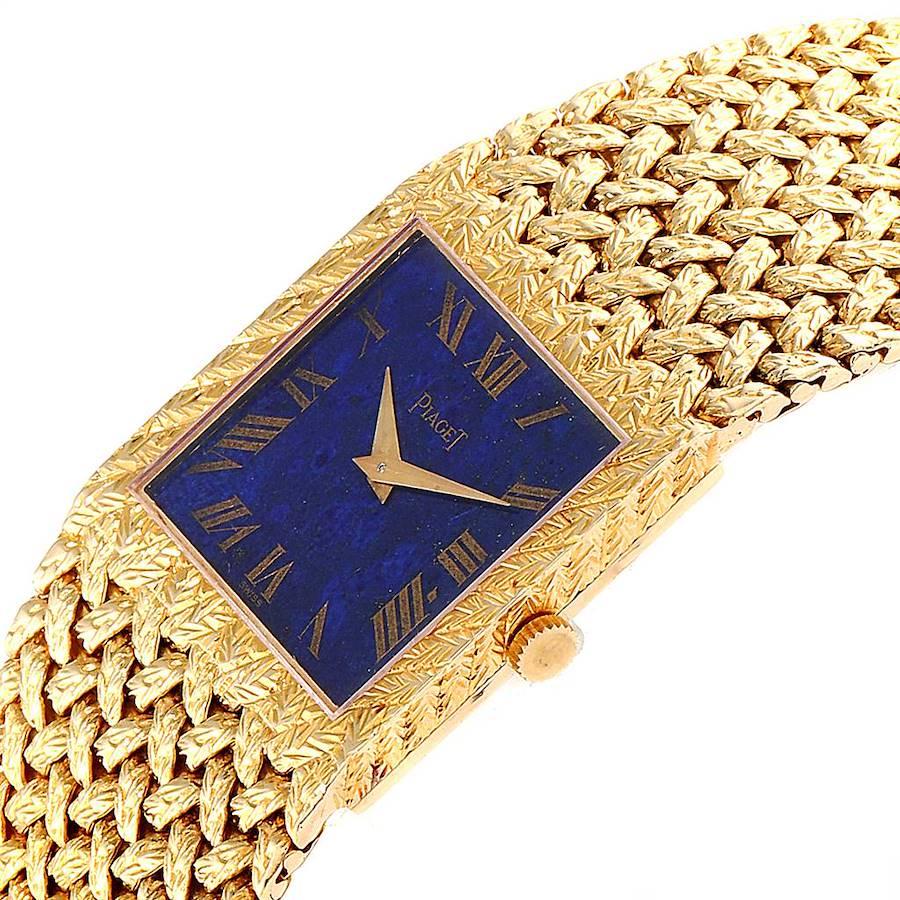 Piaget 18k Yellow Gold Blue Lapis Lazuli Dial Vintage Mens Watch 9352 SwissWatchExpo