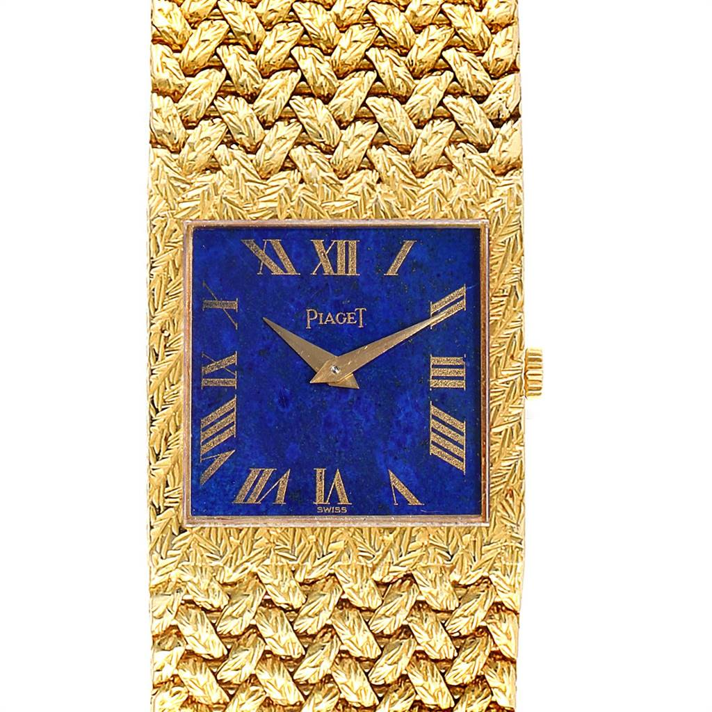Piaget 18k Yellow Gold Blue Lapis Lazuli Dial Vintage Mens Watch 9352