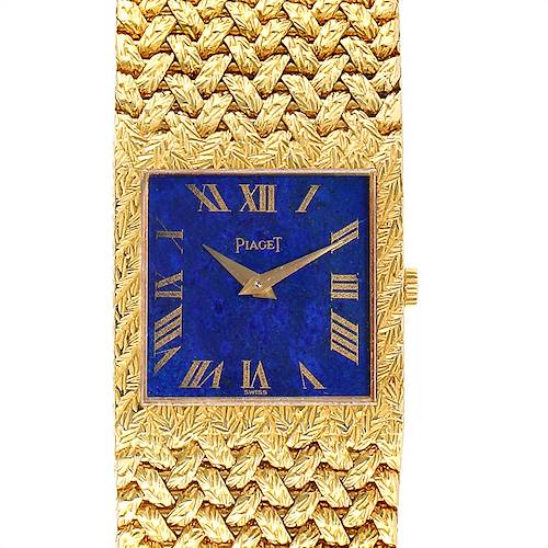 Photo of Piaget 18k Yellow Gold Blue Lapis Lazuli Dial Vintage Mens Watch 9352