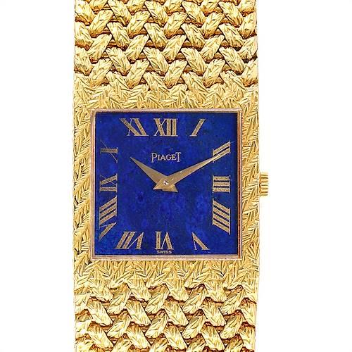 Photo of Piaget 18k Yellow Gold Blue Lapis Lazuli Dial Vintage Mens Watch 9352