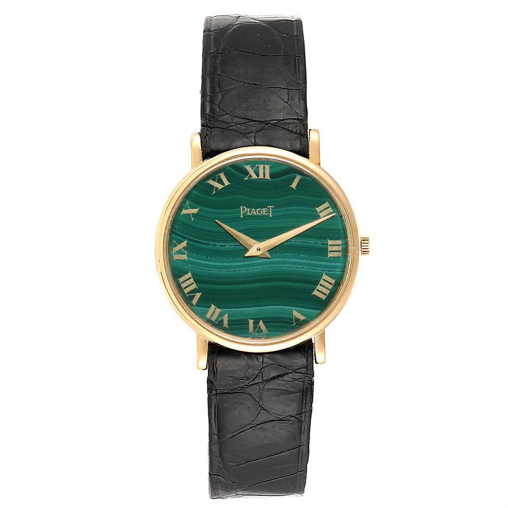 Piaget Yellow Gold Malachite Dial Vintage Ladies Watch 9015 SwissWatchExpo
