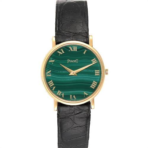 Photo of Piaget Yellow Gold Malachite Dial Vintage Ladies Watch 9015