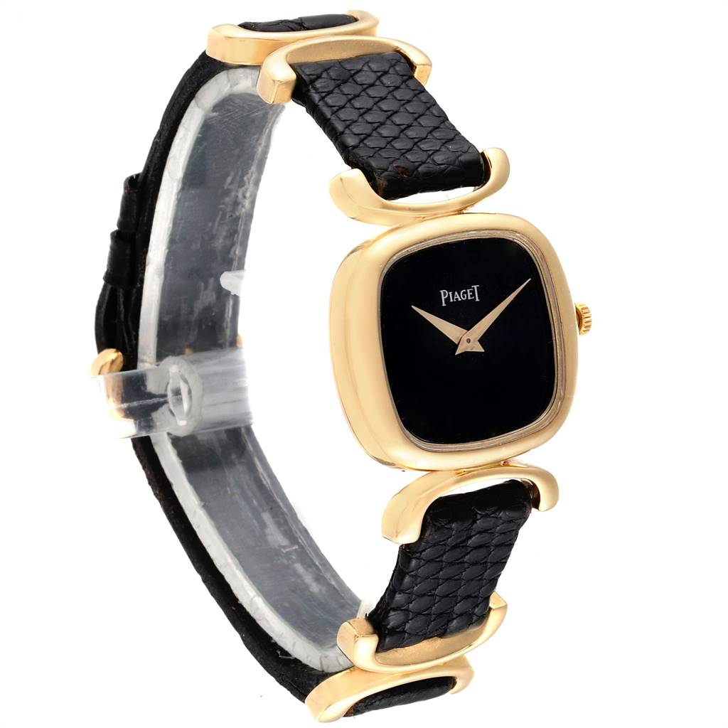 Piaget Solo Tempo Yellow Gold Black Onyx Dial Vintage Ladies Watch 9451 SwissWatchExpo