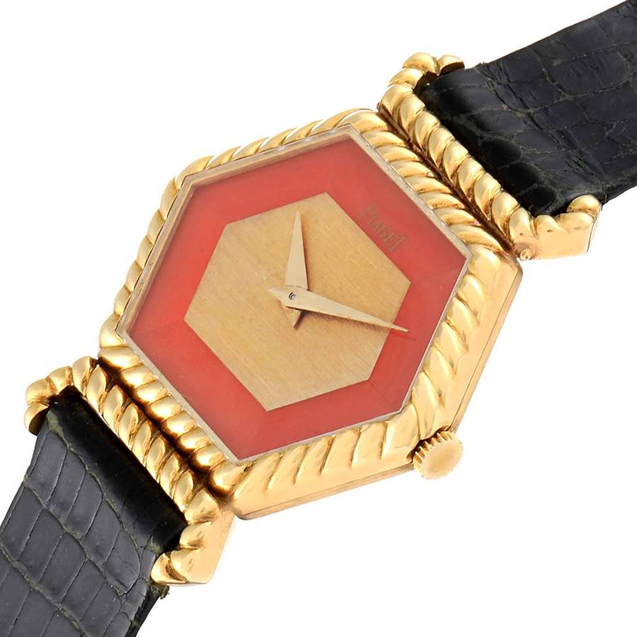 Piaget 18K Yellow Gold Coral Dial Hexagonal Vintage Ladies Watch 9559 SwissWatchExpo
