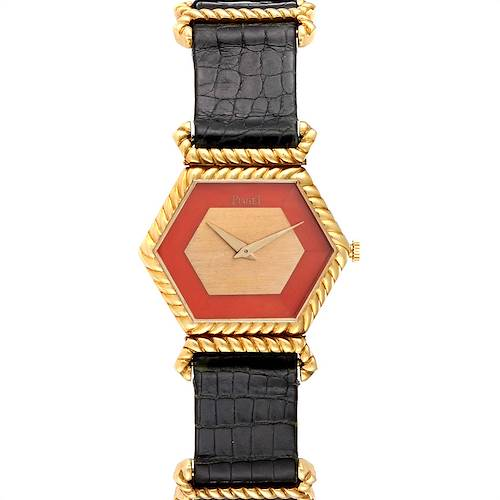 Piaget 18K Yellow Gold Coral Dial Hexagonal Vintage Ladies Watch 9559