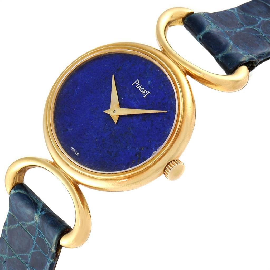 Piaget Classique Yellow Gold Lapis Dial Vintage Ladies Watch 9451 SwissWatchExpo