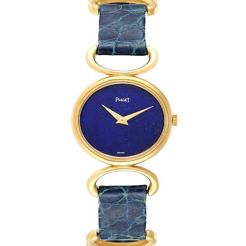 Piaget Classique Yellow Gold Lapis Dial Vintage Ladies Watch 9451
