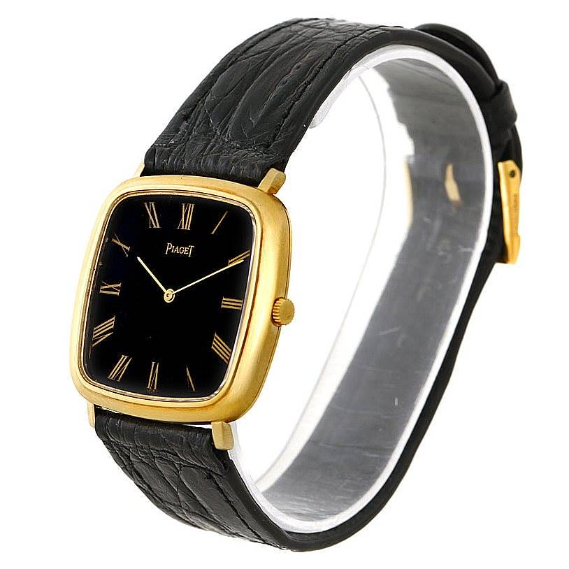 Piaget 18K Yellow Gold Cushion Shape Mechanical Mens Watch SwissWatchExpo