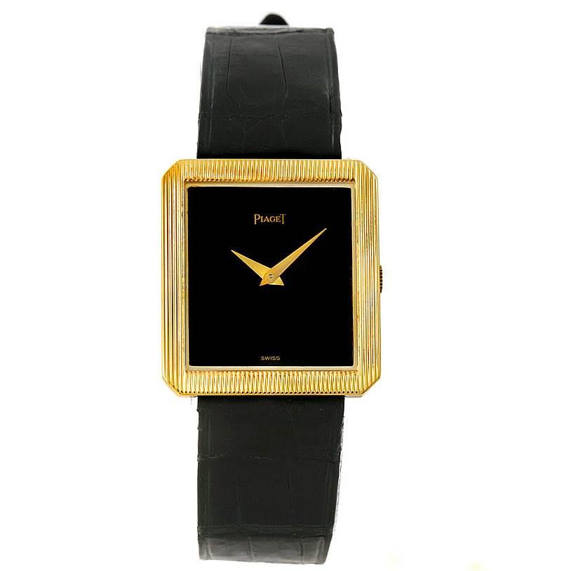 7986 Piaget 18K Yellow Gold Cushion Shape Mens Watch 9154 SwissWatchExpo