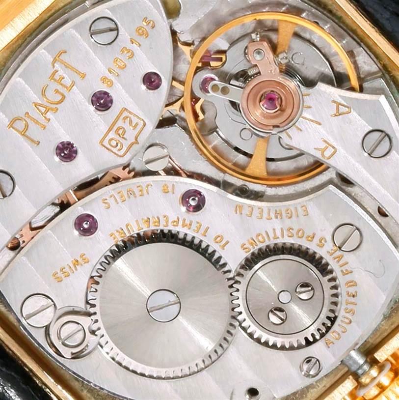 Piaget 18K Yellow Gold Cushion Shape Diamond Mechanical Mens Watch SwissWatchExpo