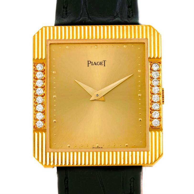 Photo of Piaget 18K Yellow Gold Cushion Shape Diamond Mechanical Mens Watch