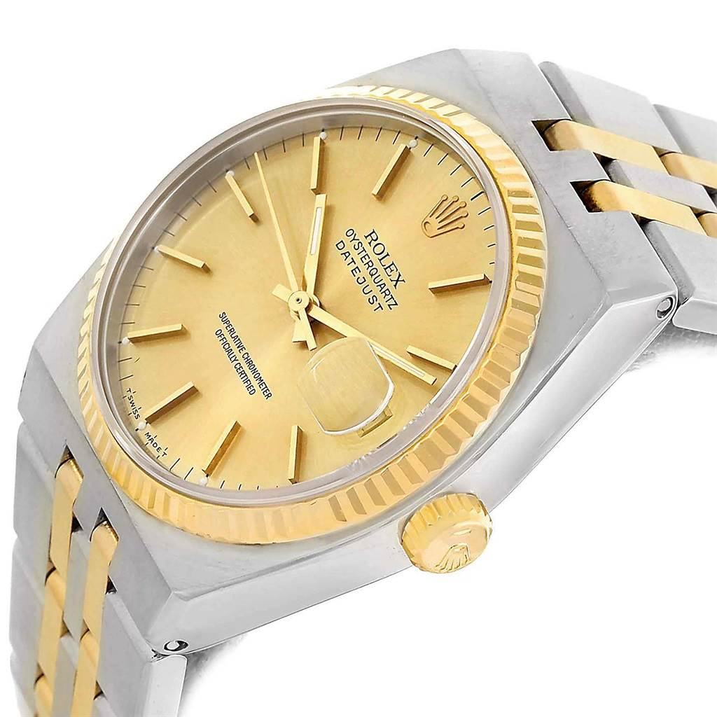 13340 Rolex Oysterquartz Datejust Steel 18K Yellow Gold Mens Watch 17013 SwissWatchExpo
