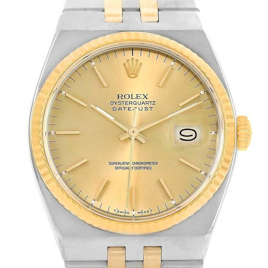 Rolex Oysterquartz Datejust Steel Yellow Gold Mens Watch 17013 box SwissWatchExpo