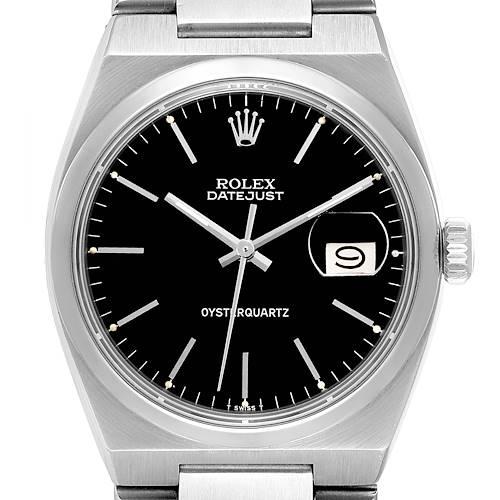 Photo of Rolex Oysterquartz Datejust Black Dial Vintage Mens Watch 17000