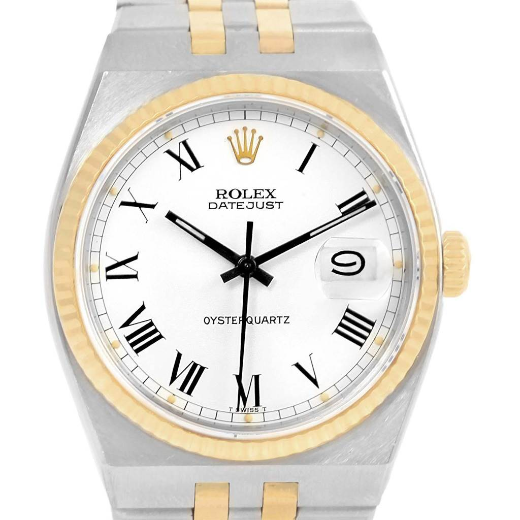 17765 Rolex Oysterquartz Datejust Steel Yellow Gold Buckley Dial Watch 17013 SwissWatchExpo