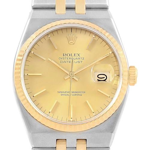Photo of Rolex Oysterquartz Datejust Steel Yellow Gold Mens Watch 17013 box
