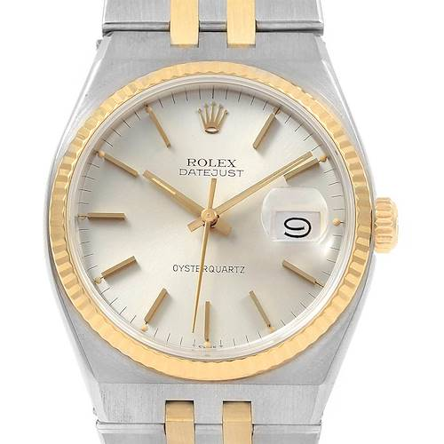 Photo of Rolex Oysterquartz Datejust Steel Yellow Gold Silver Dial Watch 17013