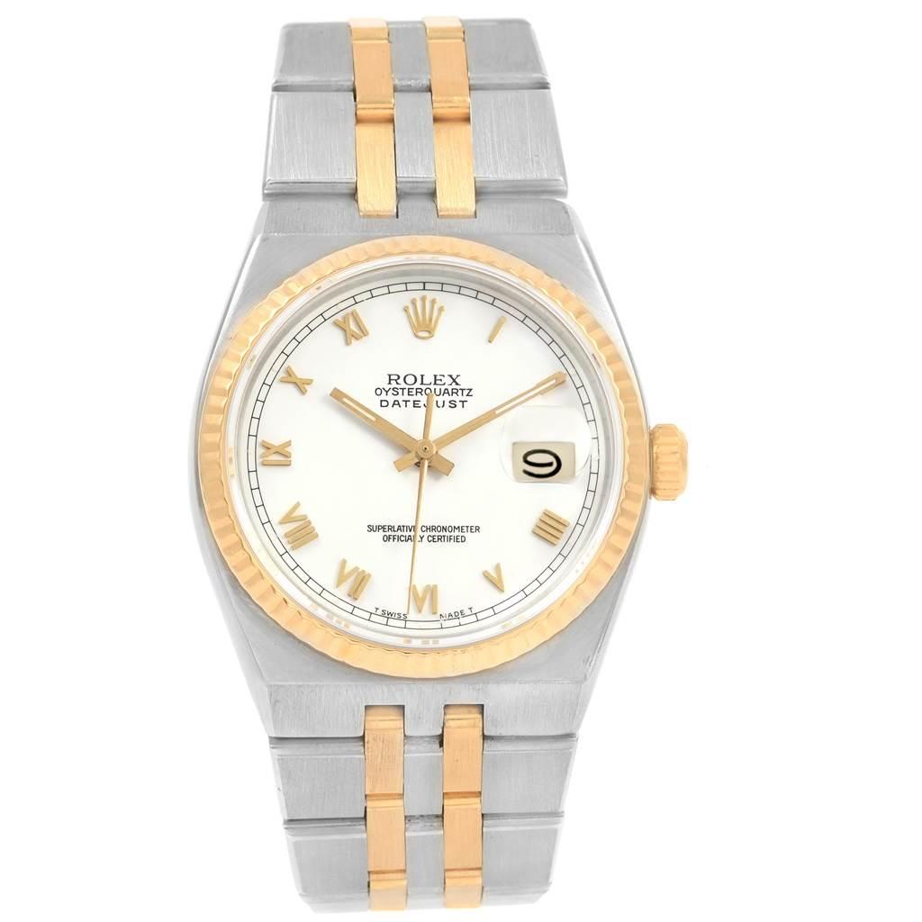 18987 Rolex Oysterquartz Datejust Steel Yellow Gold White Dial Watch 17013 SwissWatchExpo