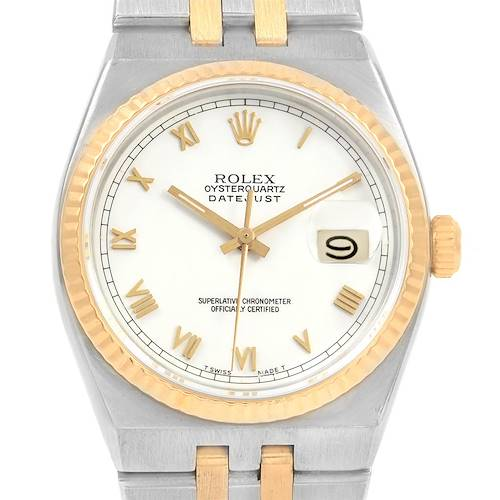 Photo of Rolex Oysterquartz Datejust Steel Yellow Gold White Dial Watch 17013