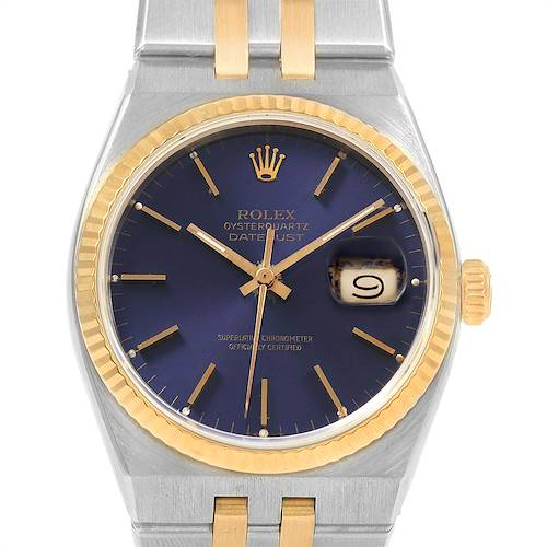 Photo of Rolex Oysterquartz Datejust Blue Dial Steel Yellow Gold Mens Watch 17013