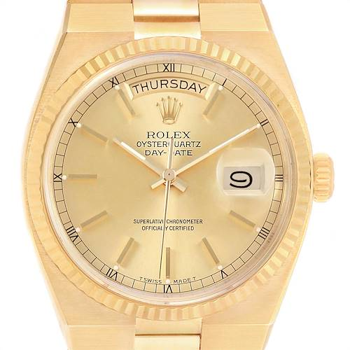 Photo of Rolex Oysterquartz President Yellow Gold Champagne Dial Mens Watch 19018