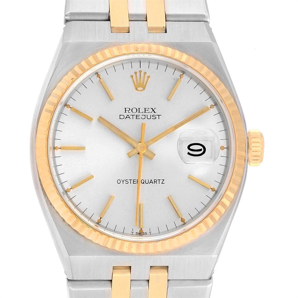Rolex Oysterquartz Datejust Steel Yellow Gold Silver Dial Watch 17013