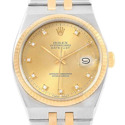 Photo of Rolex Oysterquartz Datejust Steel Yellow Gold Diamond Mens Watch 17013