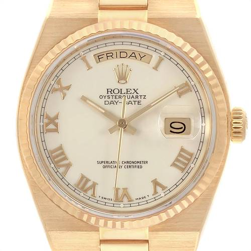 Photo of Rolex Oysterquartz President Yellow Gold White Dial Mens Watch 19018