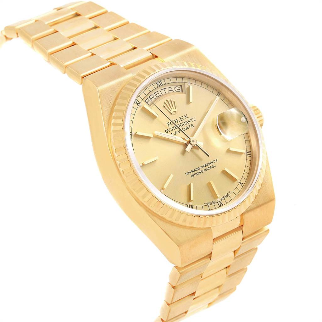Rolex Oysterquartz President Yellow Gold Champagne Dial Mens Watch 19018 SwissWatchExpo