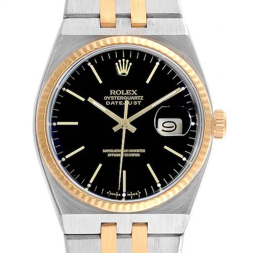 Photo of Rolex Oysterquartz Datejust Steel Yellow Gold Black Dial Watch 17013