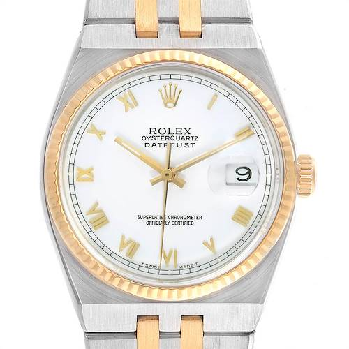 Photo of Rolex Oysterquartz Datejust Steel Yellow Gold Fluted Bezel Watch 17013