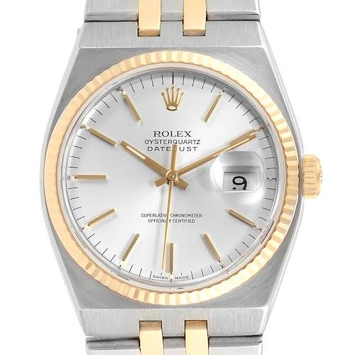Photo of Rolex Oysterquartz Datejust Silver Dial Steel Yellow Gold Watch 17013