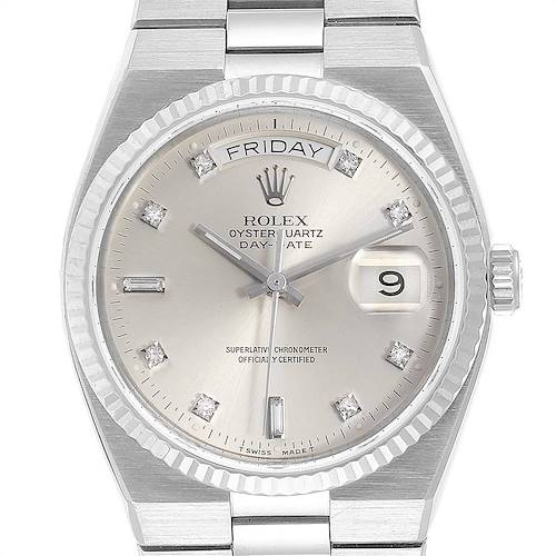 Photo of Rolex Oysterquartz President Day-Date White Gold Diamond Watch 19019