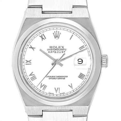 Photo of Rolex Oysterquartz Datejust White Roman Dial Vintage Mens Watch 17000